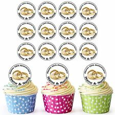 50th Golden Anniversary Rings 24 Personalised Pre-Cut Edible Cupcake Toppers