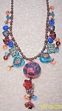 SATELLITE PARIS  GLASS BUTTERFLIES, HEARTS &  ASSORTED CHARMS COPPER NECKLACE