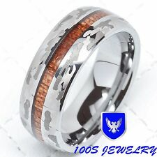 8mm Mens Tungsten Carbide Ring Army Snow Camo Wood Inlay Wedding Band Size 8-15