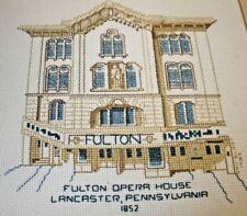 Finished Cross Stitch Piece Fulton Opera House  Lancaster PA 1852