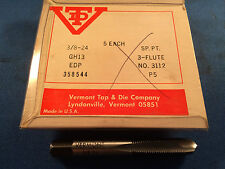 """New Vermont 3/8""""-24Nf Gh13 Hss Spiral Point Plug Taps"""