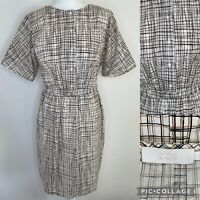 COS Ivory Check Cotton Dress Size EU 44 UK 18 Shirt Style Pockets Elastic Waist