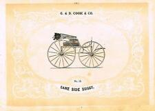 "Catalogue Advertising - Carriages by G & D Cook - ""CANE SIDE BUGGY"" - 1860"