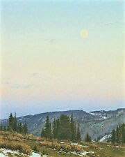 """Twilight Moon"" Carole Cooke Fine Art Giclee Canvas - Rocky Mountains"