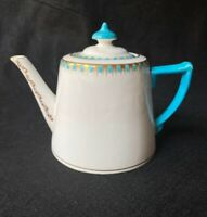 Adderley Fine Bone China Teapot Teal Handle Gold Scrolls and Deco Detail England