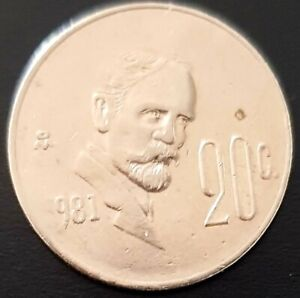 1981 MEXICO 20 Centavos MISSING NUMBER  Error COIN Very Interesting! Nice!