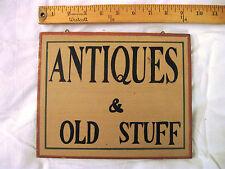 "Rustic Sign-Plaque ""ANTIQUES & OLD STUFF"""
