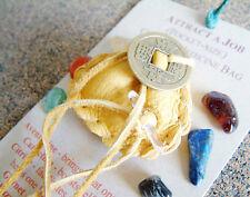 ATTRACT A JOB CRYSTAL MEDICINE BAG Pocket Size Deer Pouch w/ Reiki Gemstones