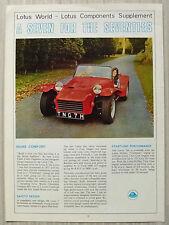 Lotus seven voiture lotus world magazine supplement 1969-70