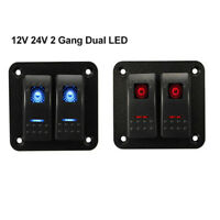 2 Gang LED Rocker Switch Panel Circuit Breakers 5PIN For Car Boat Marine 12V 24V