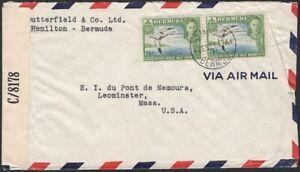 BERMUDA, 1943.  Cover 121D (2), Hamiltobn - Leominster, MA