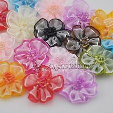 40pcs Organza ribbon flowers bows Beads Appliques Craft Wedding Dec  Upick
