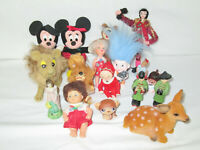 Adorable Lot of Mostly Vintage, current dolls mickey minnie etc.  (9)