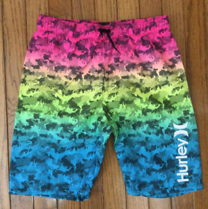 "New Hurley Swim Trunks Board Shorts Inseam 8"" Sz Boys 10 / 12 MSRP $38 (C27-7)"