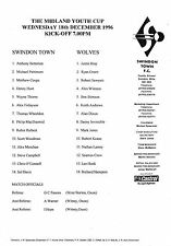 Football Programme>SWINDON TOWN YOUTH v WOLVES YOUTH Dec 1996