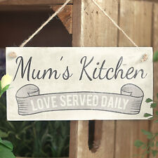 Mum's Kitchen Love Served - Handmade Wooden Sign / Plaque Small Fun Gift For Mum