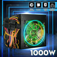 1000W PC Power Supply Quiet ATX Gaming PSU + 120mm LED Fan for Desktop Computer