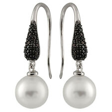 Fancy Sterling Silver earrings with 10mm shell pearls and Black CZ OE-06