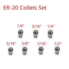 7pcs Spring Collets For CNC Workholding Engraving Milling Lathe ER20 Grinder Set