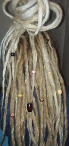 New Set of 8 DREADLOCK BEADS & Cotton Cord Dread Wraps Boho Hippie Wood Bone