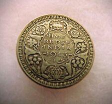 1943 Silver India 1/2 Rupee British India Coin WWII Era Coinage 50% Silver