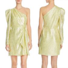 ML Monique Lhuillier One-Shoulder Metallic Dress, Size 4, NWT $495