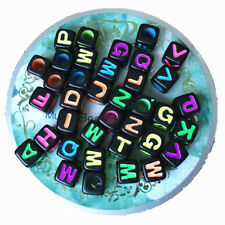 56pcs Colorful Mixed Alphabet Letter A-Z Cube Loose Beads Jewelry Making DIY 6mm