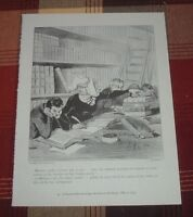 FEMALE AUTHOR ANNOYING RESEARCHERS IN 1844 Honore-Victorin Daumier Caricatures