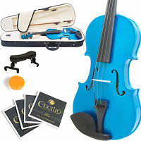 MENDINI FULL SIZE 4/4 STUDENT VIOLIN METALLIC BLUE +TUNER+SHOULDERREST+BOW+CASE