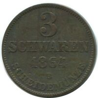 OLDENBURG 3 Schwaren 1864 B Dresden Mint German States #DE10532.12DW