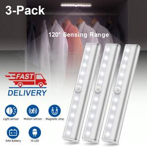 3 Pack Motion Sensor Under Cabinet Lighting 10 LED Wireless Closet Night Light