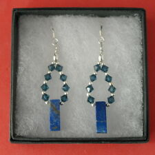 Beautiful Earrings With Lapis Lazuli And Cristal 4 Gr.4.5 Cm. Long + 925 Hooks