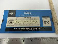 Vintage High Speed Steel Broaching Tools Calculator, Slide Rule, Cincinati. Ohio