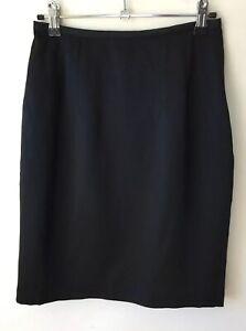 New George Cross Black Silk Pencil Skirt Size 8