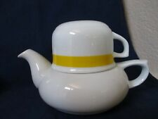 Vtg Toscany Collection Solo Japan Teapot and Cup for One White w/ Yellow Accent