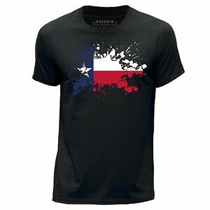 STUFF4 Men's Black Round Neck T-Shirt/USA State/Texas/Texan Flag Splat/SZ