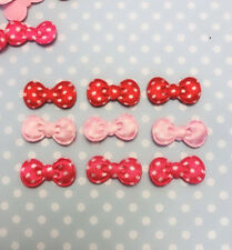200 Pink Red Mix Satin Heart Applique//Polka Dot//valentine//craft//fabric//bow H560