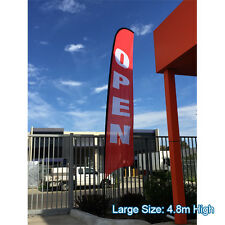 4.8m OPEN Flag Set / Outdoor Feather Flag / Flag Banner Set - Ready to Ship!
