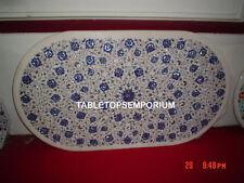 "48""x24"" White Marble Dining Table Top Inlay Lapis Pietra Dura Hallway Decor Gift"