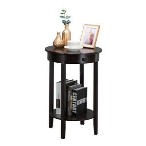 Round Side Coffee Table Wooden Accent Table with Drawer and Storage Shelf Brown