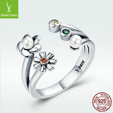 925 Sterling Silver Daisy Ring Open Heart White Pearl Lover's Present Adjustable