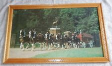 Vintage BUDWEISER CLYDESDALE Horses Large Framed Picture Print