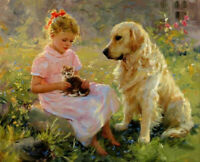 CHOP975 hand painted little girl with cat dog animals oil painting art on canvas