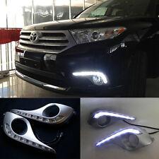 2x White LED Daytime Running Fog Light Lamp DRL For Toyota Highlander 2012-2014
