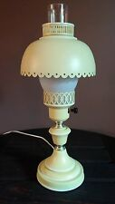 Vintage Metal Yellow Tole Painted Table Lamp