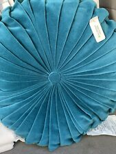 Opalhouse Velvet Pleated Round Decorative Throw Pillow Teal New