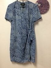 Ladies faux wrap dress JOHN ROBERTS size 12 shades of blue fully lined party 56