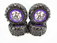 NEW Traxxas 1/10 Summit Canyon AT Tires & 17mm Chrome Geode Wheels Purple