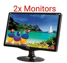 "2x Dual Matching ViewSonic 24"" Widescreen 1080p LCD Monitors VA2431WM *Grade A*"