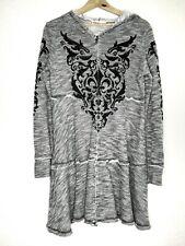 VOCAL Gray/White/Black Flair Cardigan Full Zip Hoodie Bead Bling Women's Large